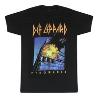 Def Leppard Pyromania It's On Fire Rock Band Graphic Printed Men's Black T-shirt