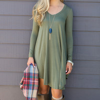 Army Green Asymmetrical Long Sleeve Loose Mini Dress