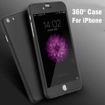 FLOVEME 360 Full Protective Hard Phone Cases For Iphone 6 6S Plus Iphone 7 7Plus Luxury Shockproof Case + Glass Screen Protector