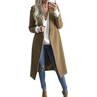Womens Cardigan Outwear,Maple_Leaf Winter Womens Long Coat Lapel Parka Jacket Cardigan Overcoat Outwear