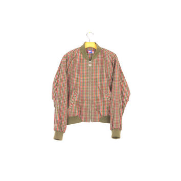 90s plaid bomber jacket / vintage 1990s grunge / olive green & orange / size small