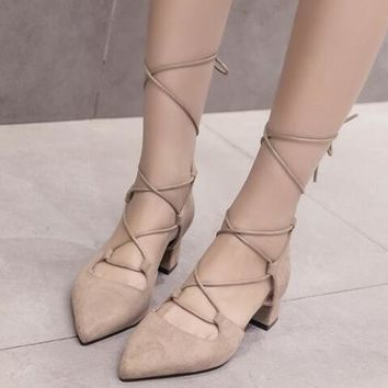 Crisscross Strappy Women Fashion Pointed Toe High Heels Shoes