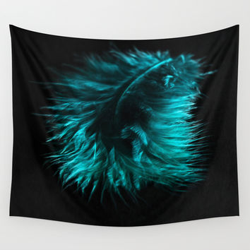 Feather in green-turquoise Wall Tapestry by VanessaGF