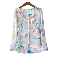'The Namie' Floral Loose Printed Chiffon Long Sleeve Blouse