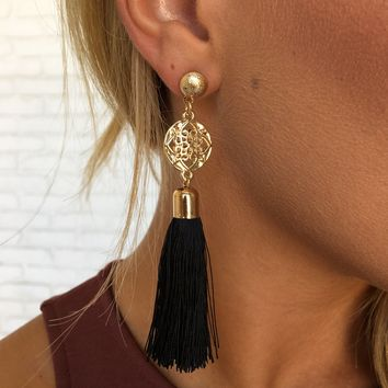 True Love Fringe Earrings in Black