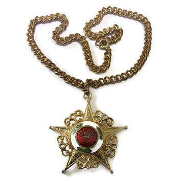 1940s Coro Pendant Necklace Sefkat Nishani Order of Charity Medal Ottoman Empire Turkish Fantasy Piece Large Rare Collectible Vintage Signed
