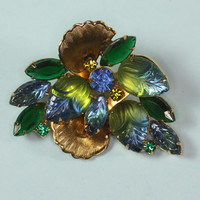 Vintage Blue and Green Molded Glass Rhinestone Juliana Brooch