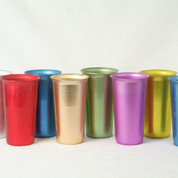 Colorful Aluminum Tumblers, mid century cups, Vintage glasses, set of 8