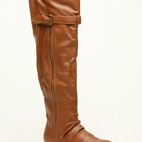Chestnut Faux Leather Above the Knee Boots