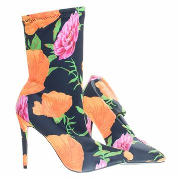 Dedicate48 Orange Multi by Anne Michelle, Pointed Toe Dress Pump w Elastic Ankle Bootie In Floral & Glitter