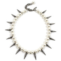 Pure Expression Choker W/Small Pearls & Short Spikes - Antique Silver/Cream Pearls