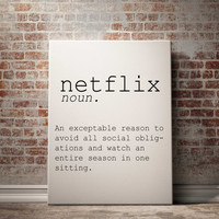 Netflix Digital Print Netflix Print Netflix Printable Art Definition Print Dictionary Print Typography Poster Scandinavian Print Word Art