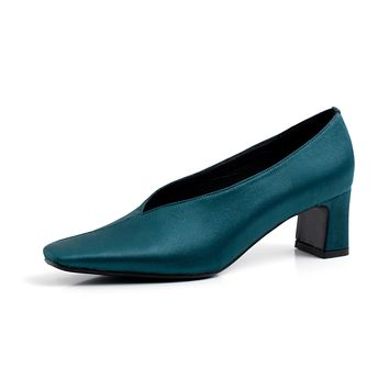 Autumn Square Toe Shallow-mouthed Medium-heel Women Shoes