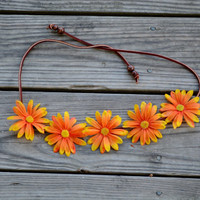 Orange Floral Crown Flower Halo Bohemian Flower Crown Gypsy Halo Headpiece Festival Crown Hippie Headpiece Orange Daisy Crown Headband