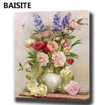 BAISITE DIY Framed Oil Painting By Numbers Animal Pictures Canvas Painting For Living Room Wall Art Home Decor