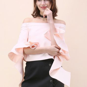 Ethereal Frilling Off-shoulder Top in Pink