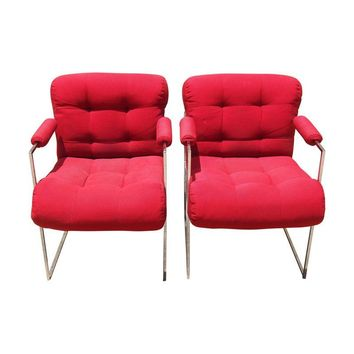 Pre-owned Milo Baughman Lounge Chairs in Red - A Pair
