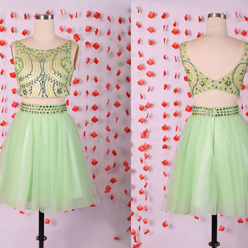 Beautiful two pieces 2015 Spring sage prom dresses,Sexy beading short prom dress,Mini cocktail dresses,party dresses,boat neck evening dress