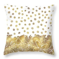 "Metallic Gold Floral Flower Swirls Trendy Unique Art by MADART Throw Pillow 14"" x 14"""