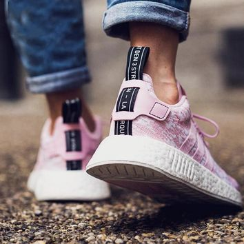 Adidas NMD R2 Boost Fashion Women Personality Sport Sneakers Jogging Shoes Cherry Blossom Powder I