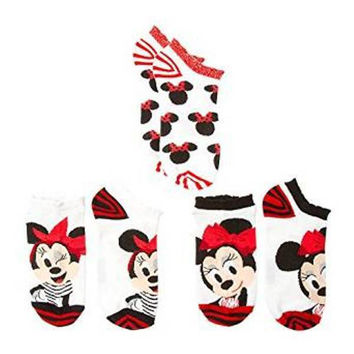 Disney Girl's MINNIE MOUSE Glitter Accent Ankle Socks Set of 3 NWT Size 9-11