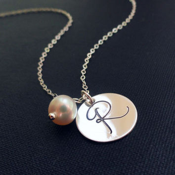 Silver Initial necklace Monogram necklace by BriguysGirls on Etsy
