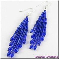 Beaded Bugle Girl Beadwork Dangle Chandelier Seed Bead Earrings in Midnight Blue