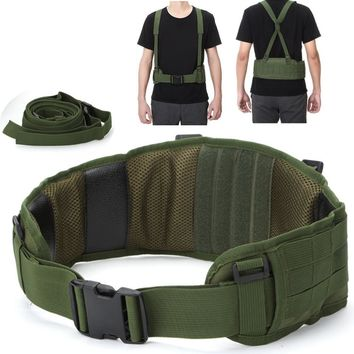 New Tactical vest MOLLE Girdle with Shoulder Sling Military Camouflage CS Padded Airsoft Combat Waist Belt Hunting Accessory