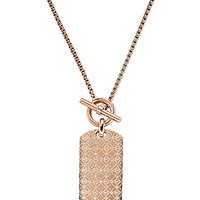 Michael Kors Monogram Dog Tag Necklace - Rose Gold