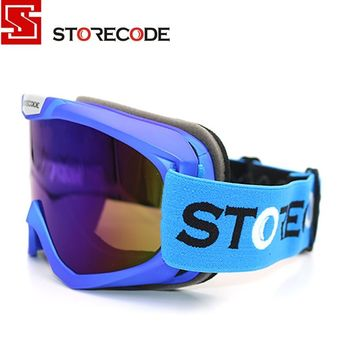 StoreCode Brand Ski Goggles Double Lens Anti-Fog UV400 Snowboard Glasses Men Women Blue Frame Skiing Snow Goggles Set 671