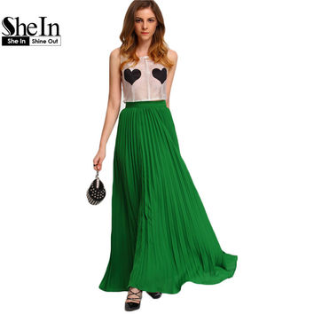 SheIn Vogue Green High Waist Party Wear Maxi Female Skirts New Style Womens 2016 Hot Sale Ladies Long Summer Skirt