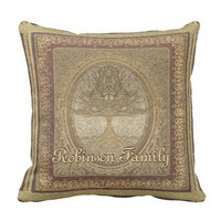 Custom Family Tree Artwork Throw Pillow