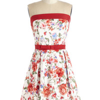 ModCloth Short Length Strapless A-line Right On Timeless Dress in Garden