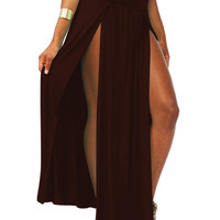 High Waist Pleated Slit Maxi Skirt