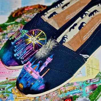 Disneyland Sleeping Beauty Castle and World of Color Themed Custom painted Disney TOMS
