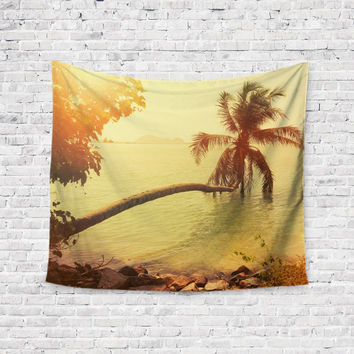 Sunken Palm Tree Ocean Trendy Boho Wall Art Home Decor Unique Dorm Room Wall Tapestry Artwork