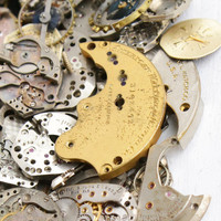 SALE - Huge Vintage & Antique Watch Movement, Finding, Gear Lot - Over 100 Clock Pieces for Parts, Jewelry Making Steampunk Destash Supplies