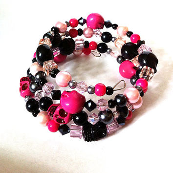 Pink and black skull memory bracelet, skull bracelet, layering bracelet, stacking bracelet, pink bracelet, Day of the Dead, gifts for her,
