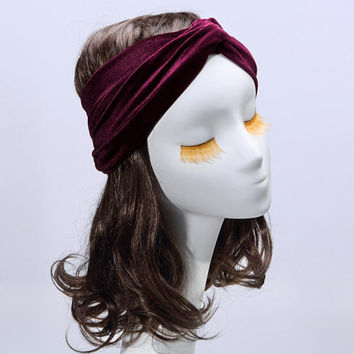 Red velvet turban headband twist hair band vintage boho hippie chick retro 60's hair wrap accessory (TBS-52)