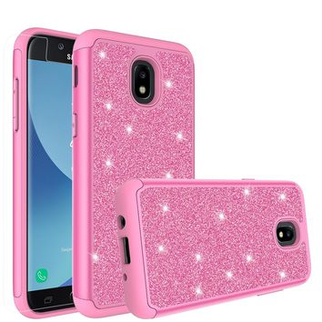Samsung Galaxy J3 (2018), Express Prime 3 Case, SM-J337A Glitter Bling Heavy Duty Shock Proof Hybrid Case with [HD Screen Protector] Dual Layer Protective Phone Case Cover for Samsung Galaxy J3 (2018) - Hot Pink