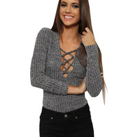 Long Sleeve Deep V-Neck Lace Up Rib Knitted T-shirts Tops For Women Casual Slim Tight Fit