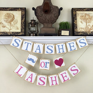 Stashes or Lashes, Gender Reveal banner, Baby Shower Decor, Baby Shower ideas, Pink or Blue