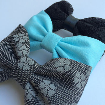 Beautiful black lace, tiffany blue, and winter gray floral hair bow lot from Seaside Sparrow.  This Seaside Sparrow set makes a perfect gi