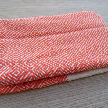 Orange colour diamond patterned Turkish soft cotton hand and face towel, baby care towel, fitness neck towel.