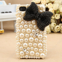 iphone 5 case   handmade  Pearl bow case  Fashion pearl iphone 5 cases iphone 4 case