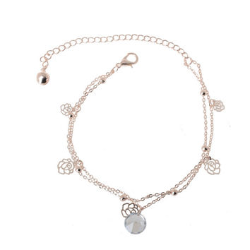 Sexy Gold Double Chain Hollow Rose Drop Anklet Bracelet Ankle Foot Jewelry Barefoot Beach Anklet NW