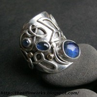 Handmade Sterling Silver Ring with Blue Kyanite Sapphires Wide Band | ElfinWorks - Jewelry on ArtFire