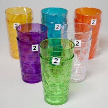 Tumblers Glass-Look 6 Colors 2Pk 18Oz Case Pack 48