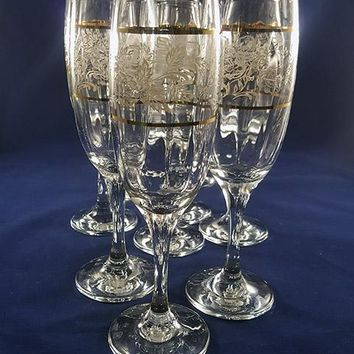 """Pasabahce Champagne Flutes, """"Art of Glass-Turkey"""""""