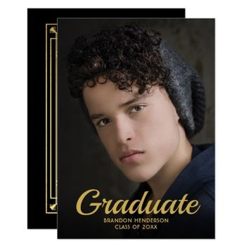 Vintage Black Gold Elegant Photo Graduation Party Card